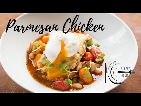 PARMESAN CHICKEN WITH BABY HEIRLOOM STEW & POACHED EGG | stevescooking