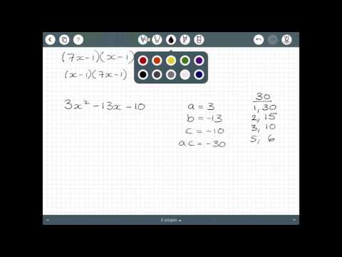 Factorising a Quadratic where a is greater than 1
