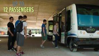 EASYMILE driverless shuttle at EPFL University in Lausanne, Switzerland