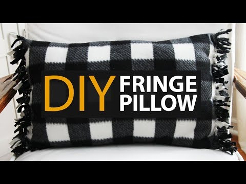 How to Make An EASY DIY Fringe Fleece Tie Pillow!