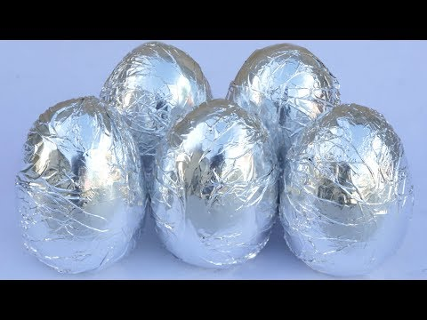 Foil Ball Surprise Egg Cars Learn Colors With Opening aluminiun Foil Balls