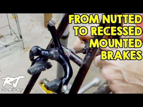 Install Recessed Mounted Caliper Brakes On Vintage Bike Frame