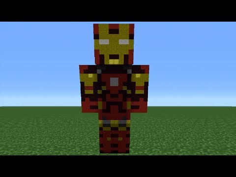 Minecraft Tutorial: How To Make An Iron Man Statue (The Avengers)