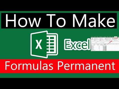 How to Make Excel 2016 formulas permanent