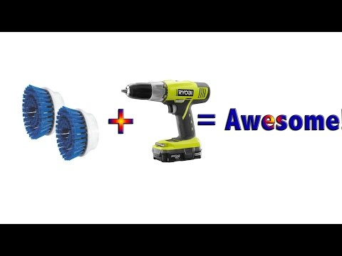 The Best Way to Clean Grout! Turn your drill into a cleaning machine!  Quick Tip!