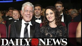 Anthony Bourdain supports his girlfriend and takes aim at Harvey Weinstein