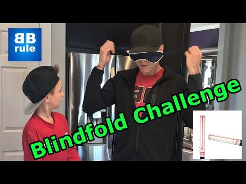 Kids HocKey BlindFold challenge w/ Hacksaw!!! how to cut and size hockey  stick and put on buttendz