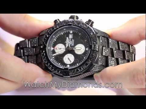 GENUINE- MENS BLACK DIAMOND WATCH BREITLING BLACK PVD SUPER AVENGER 20 CT ROUND CUT