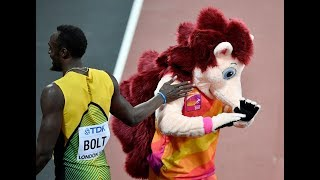 Usain Bolt shot the mascot in Iaaf London 2017