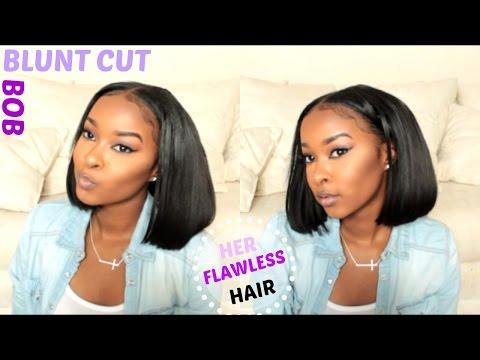 How To: Cut / Style BLUNT CUT BOB   HerFlawless Hair  Beginner Friendly