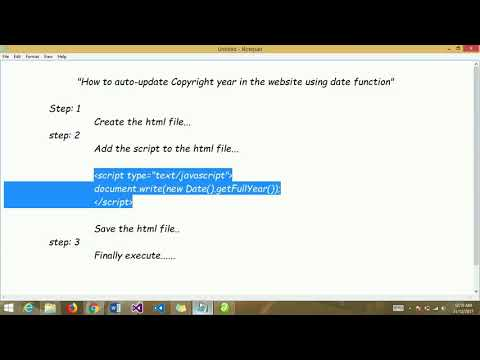 How to auto-update Copyright year in the website using date function.