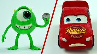 Monsters University Mike finds Nickel Lightning McQueen Runs out of gas PLAY DOH Stop Motion