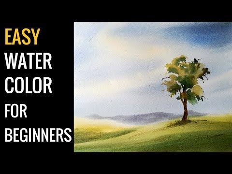 Watercolor art , Easy landscape tutorial for beginners