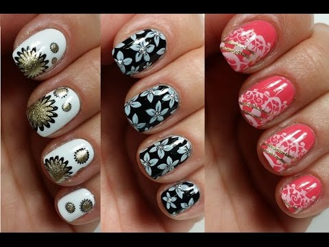 3 Easy Nail Art Designs for Short Nails | Stamping