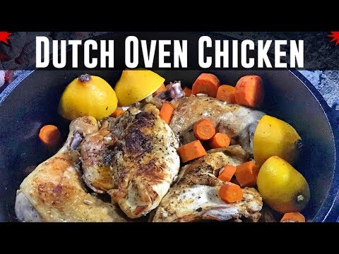 Dutch Oven Chicken Cooked Over Charcoal