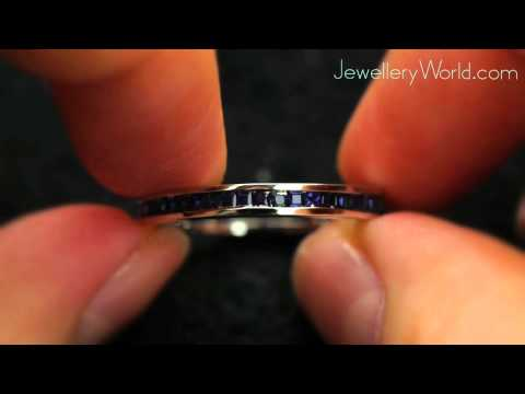 18ct White Gold Square Sapphire Eternity Ring