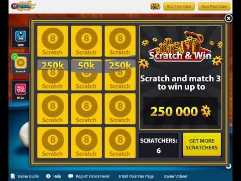 8 Ball Pool Scratch & Win use trick Win 50000 Coins
