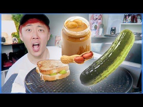 PEANUT BUTTER & PICKLE SANDWICH MUKBANG with GRILLED CHEESE SANDWICH MUKBANG