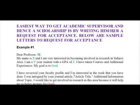 PART 1 HOW TO REQUEST AN ACCEPTANCE LETTER FROM A PROFESSOR