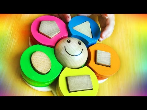 Learn SHAPES & COLORS w/ cute wooden flower shapes puzzle. Baby Toddler Toy. Let's Play Kids.