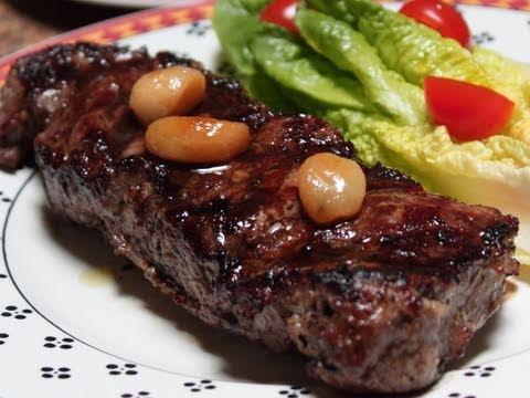 Father Day Steak! Garlic Steak with Roasted Garlic Cloves Recipe