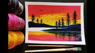easy poster colour painting ideas for beginners step by step landscape tutorial