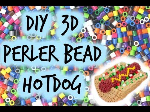 Tutorial-3D Perler Bead Hotdog