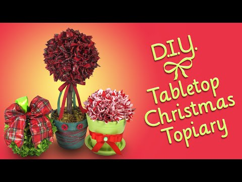 DIY Tabletop Christmas Topiary - Ribbon Craft/Ornament and Decoration