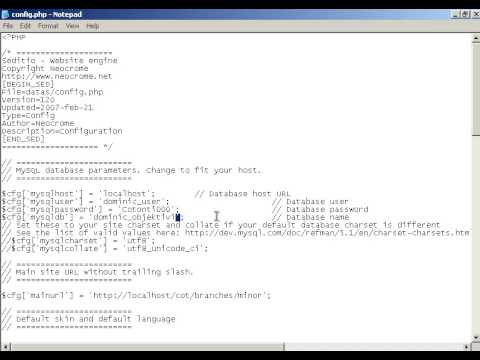 Cotonti Video Tutorial 06 - Editing Your Settings in Config.php