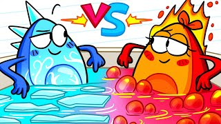 HOT VS COLD Challenge    Girl on Fire vs Icy Boy    Avocado Couple