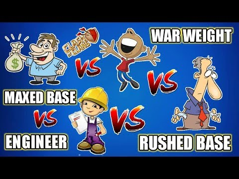 Rushed bases vs Maxout bases vs Engineered bases vs War weight bases in Clash of clans 2018