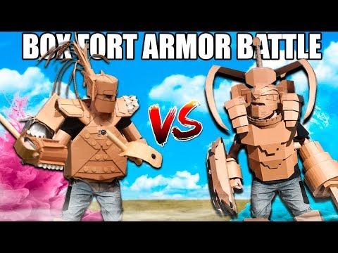 BOX FORT ARMOR BATTLE!! 📦💥 Vs Paintball, Nerf & More!