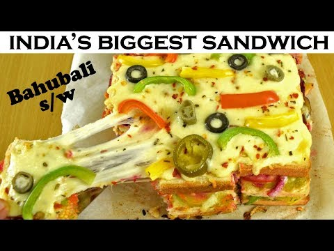 Make India's BIGGEST Cheesiest Sandwich/Bahubali Sandwich at home| Indian Street Foods| Yummylicious
