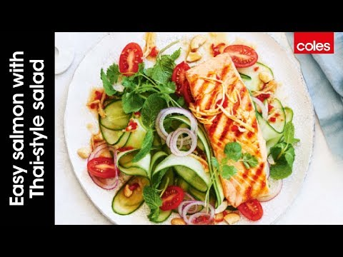 Easy salmon with Thai style salad