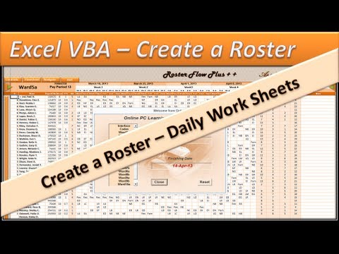 Roster - Excel VBA  - Create a  Roster - Excel 2010 - Daily Shifts - Part 5