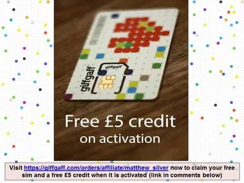 Giffgaff sim with 5 pounds free credit on activation