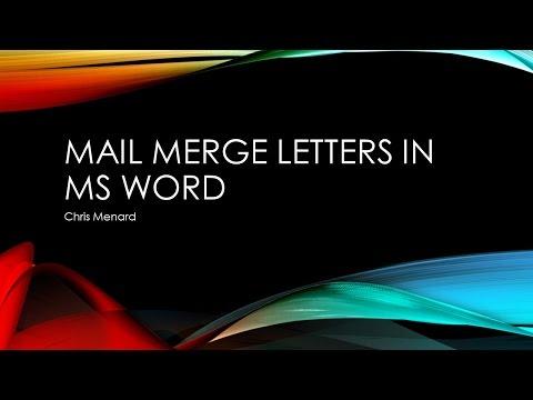 Mail Merge Letter in Microsoft Word by Chris Menard