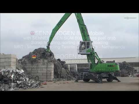 SENNEBOGEN 830 in Scrap Handling - sorting and ship loading with orange peel grab, Netherlands