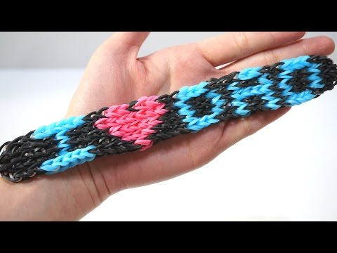 I LOVE DADDY Rainbow Loom Bracelet for your DAD with Four Forks no Loom DIY