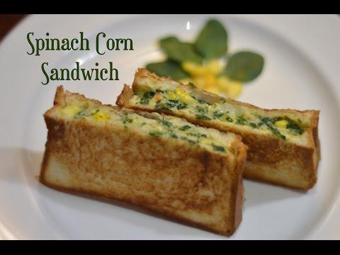 Spinach Corn Sandwich Recipe|Cheesy Spinach Corn Sandwich|Kids Snack Recipe