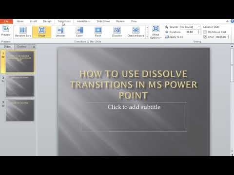 How to use Dissolve Transitions in MS Power Point