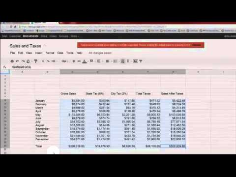 Using Google Docs' Spreadsheet - Sales and Taxes