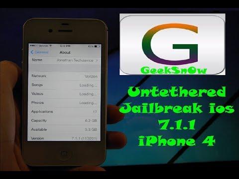 Semi Untethered Jailbreak iPhone 4 running on Ios 7 1 1