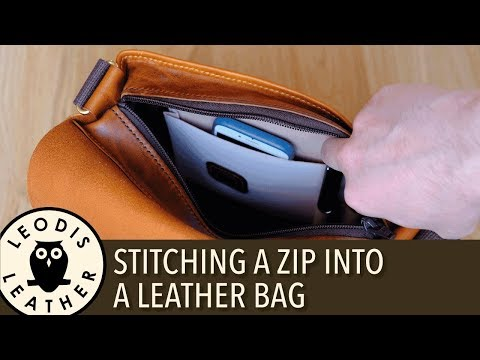 Stitching a Zip Into a Leather Bag 4K