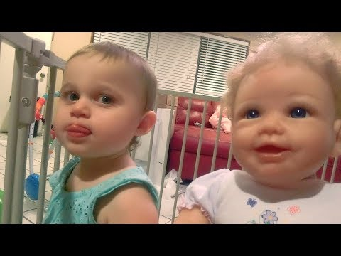 Ayla got a walking baby doll! (Isabella's first steps)