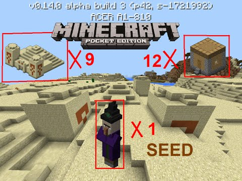 [MCPE 1.0.0 ] 9 TEMPLES, WITCH HUT, 12 VILLAGES   CRAZY SEED   MINECRAFT PE