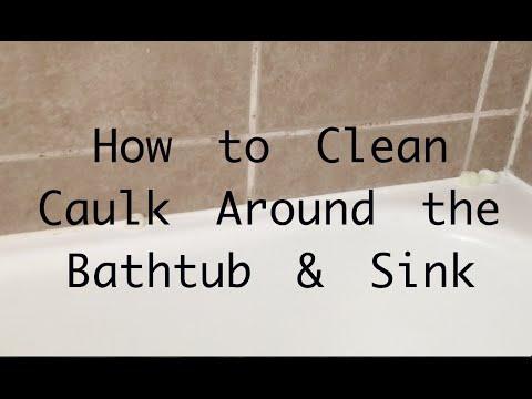 How to Clean caulk and grout around bathtub
