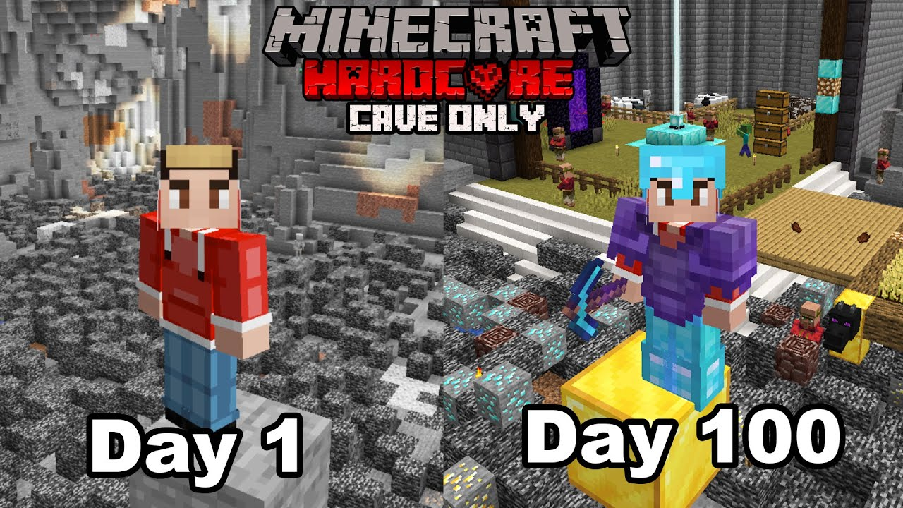 I Survived 100 Days Of Hardcore Minecraft, In A Cave Only World...