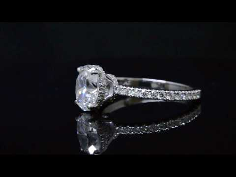 Natural Oval Cut Under Halo Pave Diamond Engagement Ring - GIA Certified