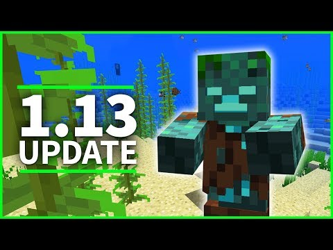 ⚓️ Minecraft 1.13 Update - SHIPWRECKS, CORAL FANS & DROWNED ZOMBIES - Minecraft 1.13 Snapshot 18w11a